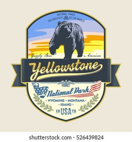 Grizzly bear, national Park Yellowstone, illustration, vector