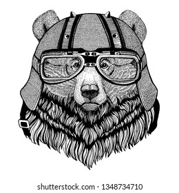 Grizzly bear wearing a motorcycle, aero helmet. Hand drawn image for tattoo, t-shirt, emblem, badge, logo, patch.