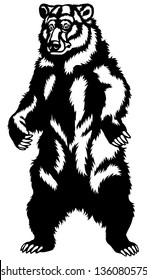 grizzly bear,black and white front view illustration