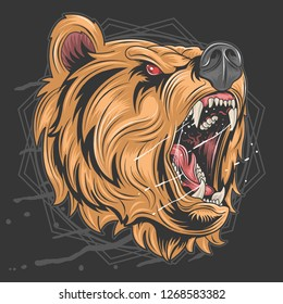 the grizzly bear's head roared fiercely and was very angry editable layers vector