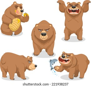 Grizzly Brown Bear vector illustration, with bear in five different situations like eating honey, standing roaring, four leg standing, side view and eating fish.