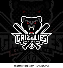 Grizzly mascot for a baseball team on a dark background. Vector illustration.