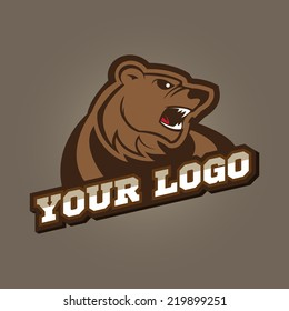 Grizzly mascot, team logo design, angry bear