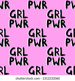 """""""GRL PWR (or """"Girl power"""") quote seamless pattern. Fun slogan wallpaper. Feminism symbol vector illustration. Pink background."""
