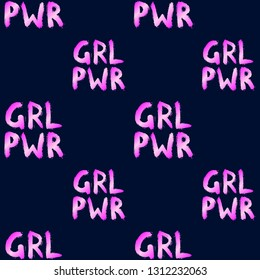 """GRL PWR (or ""Girl power"") quote seamless pattern. Fun slogan wallpaper. Feminism symbol vector illustration. Dark blue background."