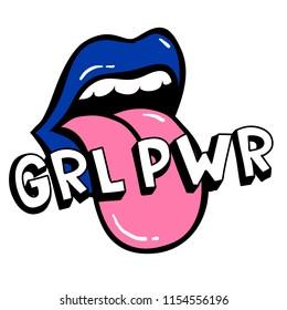 GRL PWR short quote. Girl Power cute hand drawing illustration for print, brochure, greeting card, bag, clothing. To stick on laptop, phone, wall. Modern motivational text, feminist tattoo trend