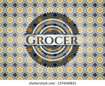 Grocer arabic badge. Arabesque decoration.