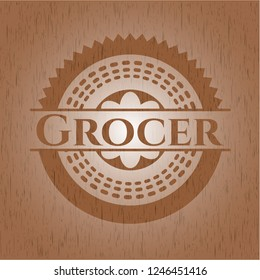 Grocer badge with wooden background