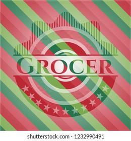 Grocer christmas colors style emblem.