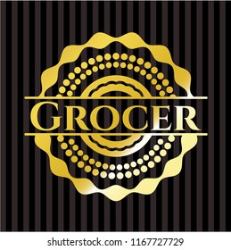 Grocer gold badge or emblem