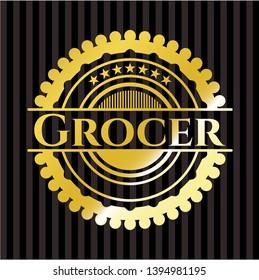 Grocer gold shiny badge. Vector Illustration. Detailed.