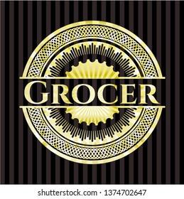 Grocer golden badge or emblem