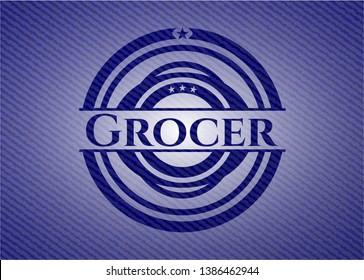 Grocer jean or denim emblem or badge background. Vector Illustration. Detailed.