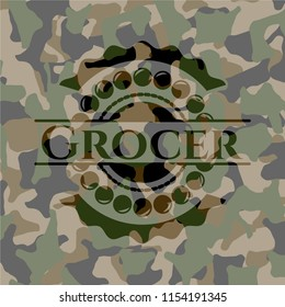 Grocer on camouflaged pattern