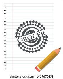 Grocer pencil strokes emblem. Vector Illustration. Detailed.
