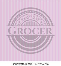 Grocer pink emblem. Vintage.