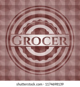 Grocer red seamless emblem with geometric background.