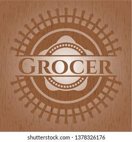 Grocer retro wooden emblem