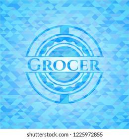 Grocer sky blue emblem with mosaic background