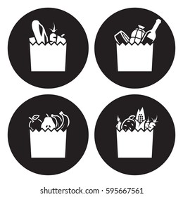 Grocerie bag icons. White on a black background