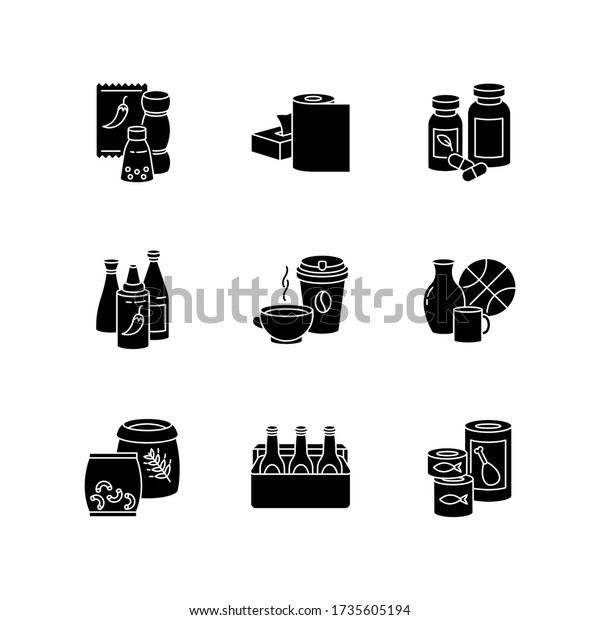Groceries black glyph icons set on white space. Condiments for cooking. Paper products. Pharmaceutical pills. Hot sauce in bottle. Miscellaneous items. Silhouette symbols. Vector isolated illustration