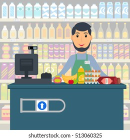 Groceries cashier at work. Male checkout cashier with foods against shelves with goods. EPS10 vector illustration in flat style.
