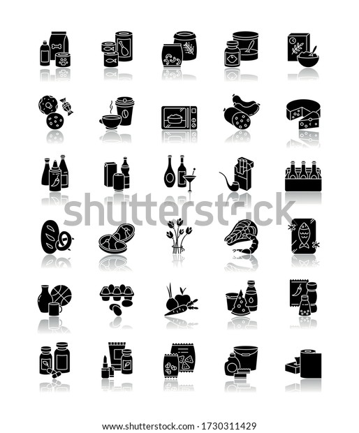 Groceries category drop shadow black glyph icons set. Supermarket food sections. Drink products for ecommerce and retail. Miscellaneous goods for shop. Isolated vector illustrations on white space