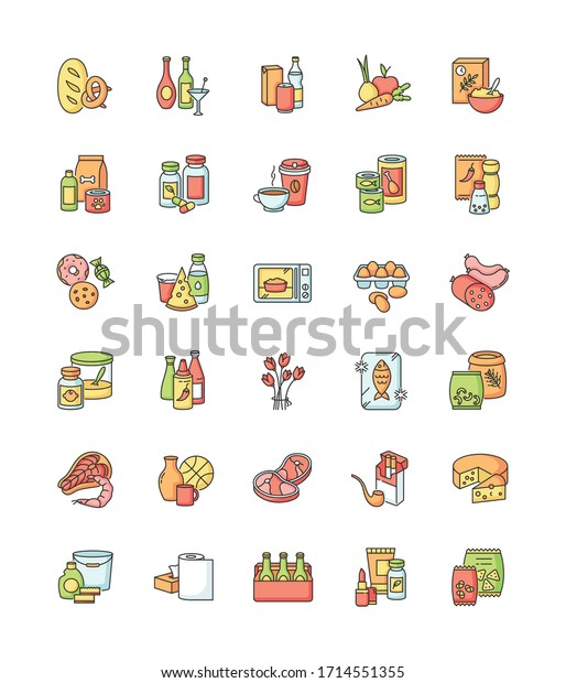 Groceries category RGB color icons set. Various supermarket food sections. Drink products for ecommerce and retail. Store supplies. Miscellaneous goods for shop. Isolated vector illustrations