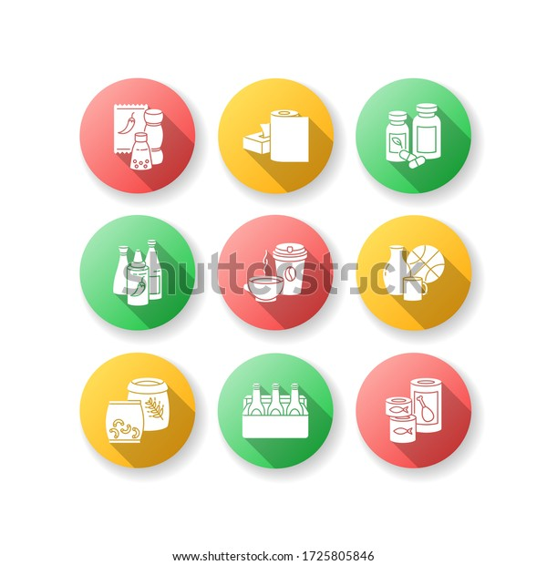 Groceries flat design long shadow glyph icons set. Condiments for cooking. Paper products. Pharmaceutical pills. Hot sauce in bottle. Miscellaneous items. Silhouette RGB color illustration