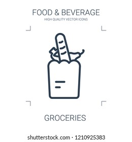 groceries icon. high quality line groceries icon on white background. from food collection flat trendy vector groceries symbol. use for web and mobile