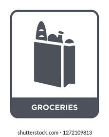 groceries icon vector on white background, groceries trendy filled icons from Fastfood collection, groceries simple element illustration