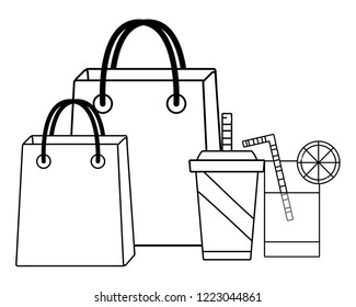 groceries purchase bag black and white