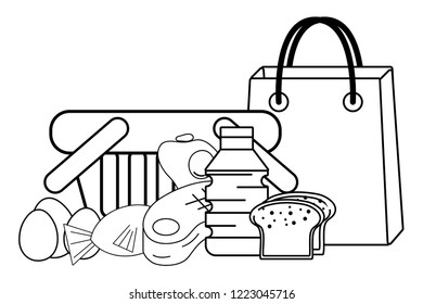 groceries purchase basket black and white