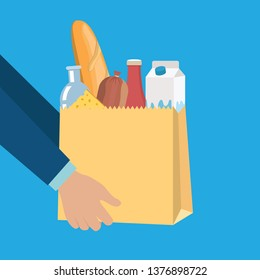 Groceries set in paper shopping bag with cheese, sausage, milk, ketchup and baguette. Dairy food. Traditional fresh farm products. Vector illustration in flat style - Vector