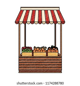 Groceries wooden stand scribble