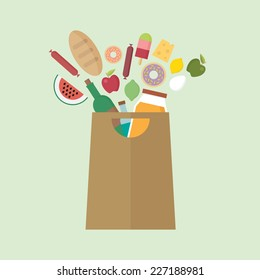 Grocery bag with colorful exploding food
