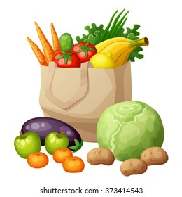 Grocery bag isolated on white background. Cartoon vector illustration. Fruits and vegetables: bananas, green, carrots, tomato, onion. Supermarket healthy food