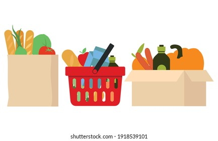 Grocery bags set. plastic and paper packages, supermarket basket with food packs, cans, bread, milk products logo