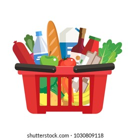 Grocery basket - a shopping basket with different foods and beverages. Vector illustration in flat style, design template