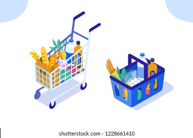 Grocery cart and basket. Flat isometric vector illustration isolated on white background.