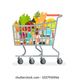 Grocery cart from the supermarket with products. Vector illustration in a flat style