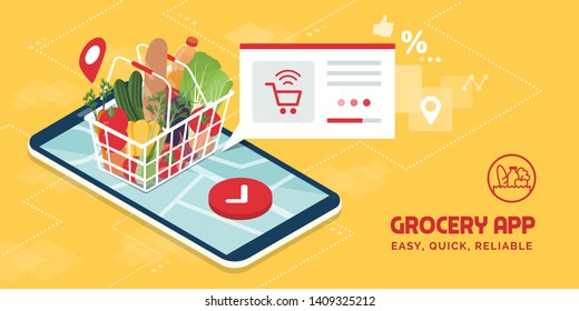 Grocery delivery at home and smartphone app: full shopping basket with fresh vegetables, food and beverage on a mobile phone display
