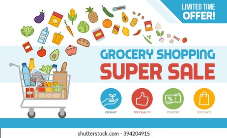 Grocery discount shopping banner with shopping cart filled with food and products, offers and sales concept