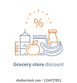 Grocery food and drink, pile of products, consumption concept, retail store loyalty program, supply and demand, food choice abundance, vector line icon, thin stroke