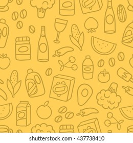 Grocery food and products seamless pattern. Cute cartoon hand drawn tile background. Vector image for your fabric textile, wrapping paper. Fruits, vegetables, household chemicals, washing powder...