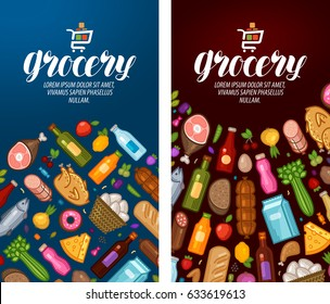 Grocery, food shop, supermarket label. Banner design template. Vector illustration