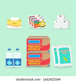 Grocery and Household Supply Sold in Supermarket. Instant Noodle, Tissue Rolls and Box, Rice and Water.