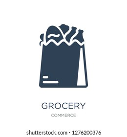grocery icon vector on white background, grocery trendy filled icons from Commerce collection, grocery vector illustration