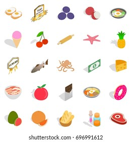 Grocery icons set. Cartoon set of 25 grocery vector icons for web isolated on white background