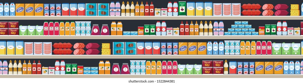Grocery items and products assortiment on the supermarket shelves and offers vector flat cartoon seamless background illustration. Shopping and food retail concept.